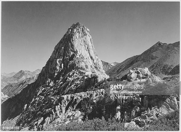 Black and white photograph of rocky outcropping captioned 'Fin Dome Kings River Canyon ' by Ansel Adams from Photographs of National Parks and...