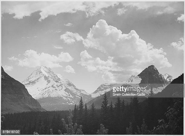 A black and white photograph of snow covered mountains in Glacier National Park the valley leading to the mountains is covered by a dense forest the...