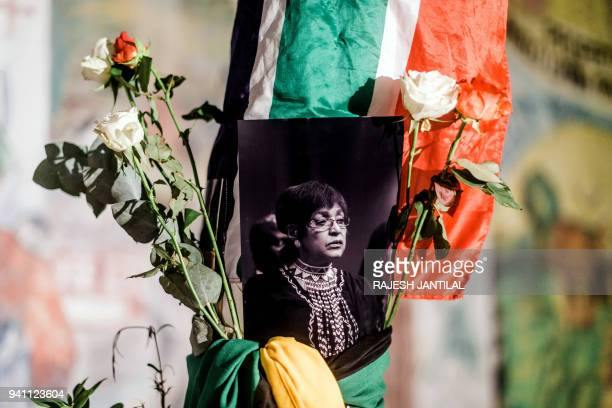 TOPSHOT A black and white photograph of the late South African antiapartheid campaigner Winnie MadikizelaMandela exwife of former South African...