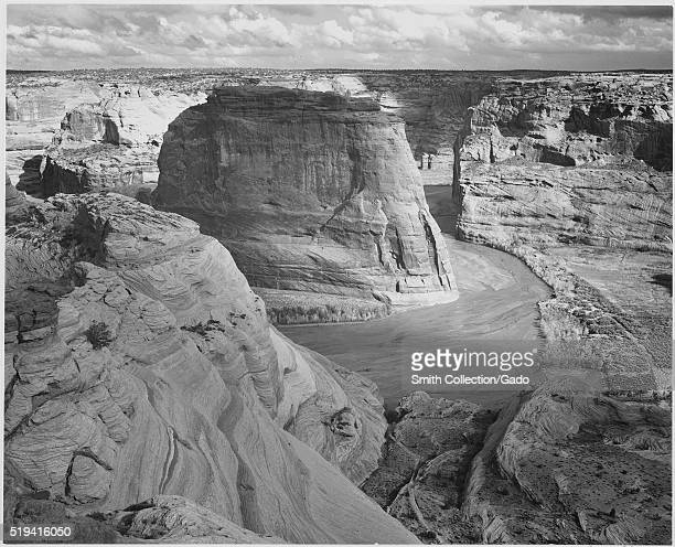 A black and white photograph of the the ladscape at Canyon de Chelly National Monument 1941 The image comes from a series of photographs known as the...