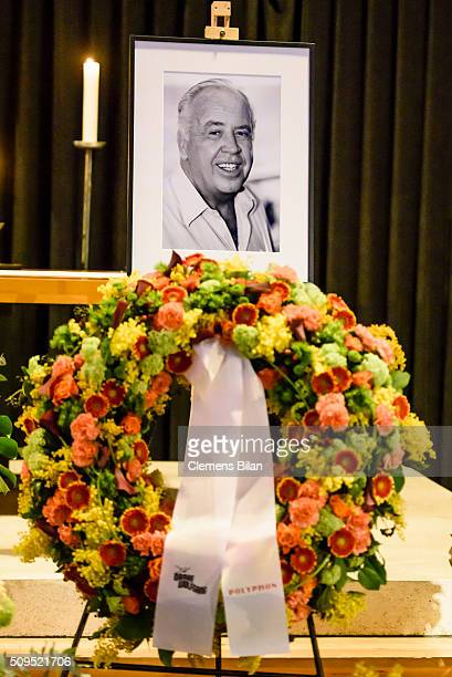 A black and white picture of deceased TV Producer Wolfgang Rademann is seen before his memorial service on February 11 2016 in Berlin Germany