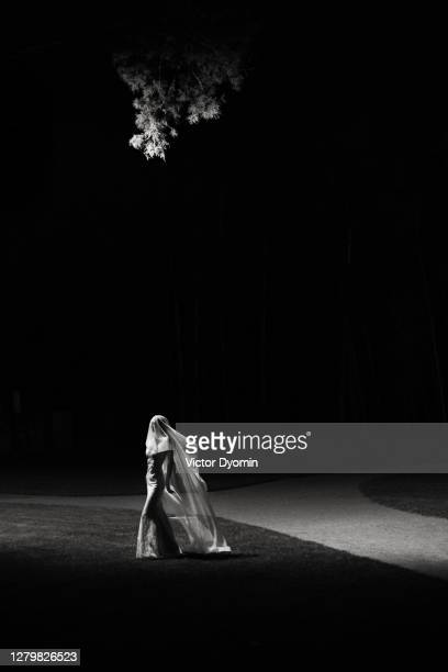 black and white picture of the mysterious night bride - marriage stock pictures, royalty-free photos & images