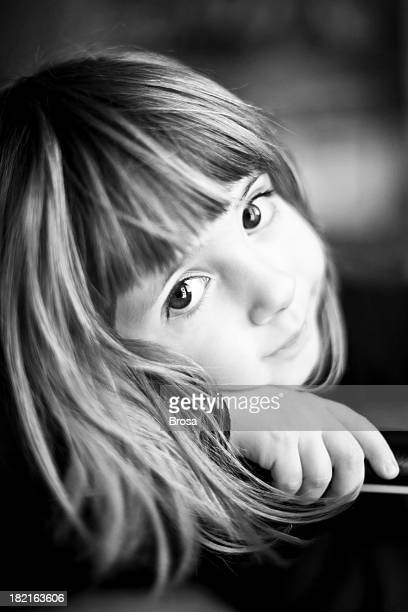 Black and white portrait of 4 years little girl