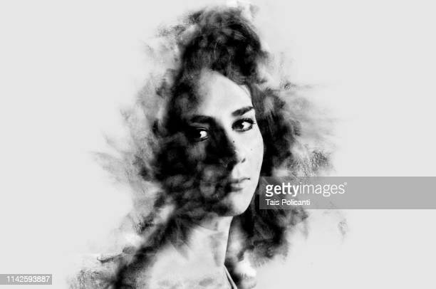 black and white portrait of a beautiful young woman - art modeling studio stock pictures, royalty-free photos & images