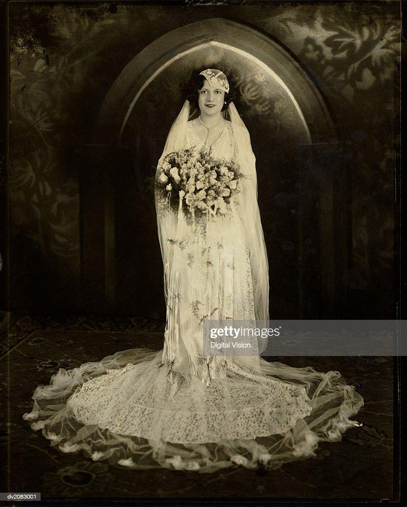 Black and White Portrait of a Bride : Stock Photo
