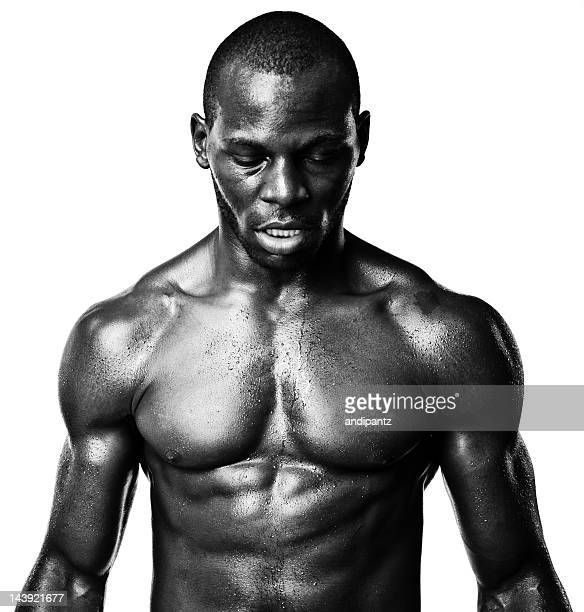 Black and white portrait of a muscular black man