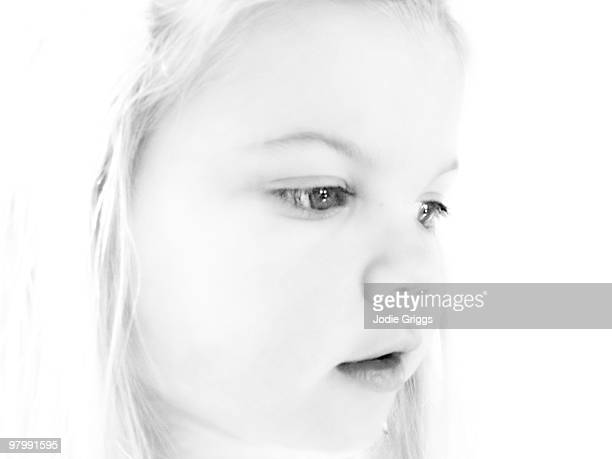 black and white portrait of a young girl - overexposed stock photos and pictures