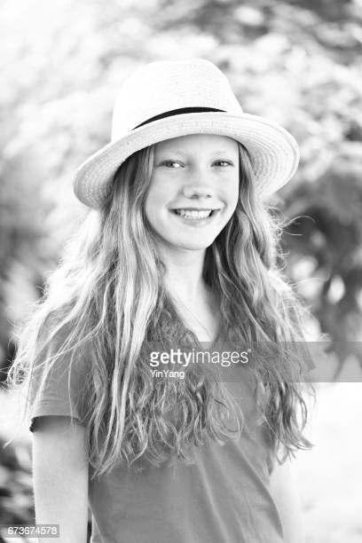 black and white portrait of caucasian teenage girl with red hair - only teenage girls stock pictures, royalty-free photos & images