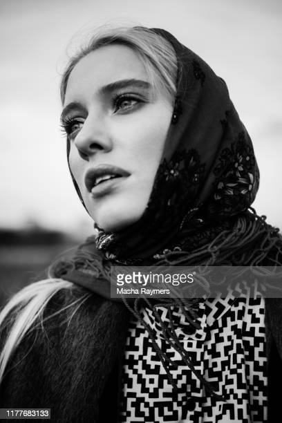 black and white portrait of fashion model - beauty salon ukraine stock pictures, royalty-free photos & images