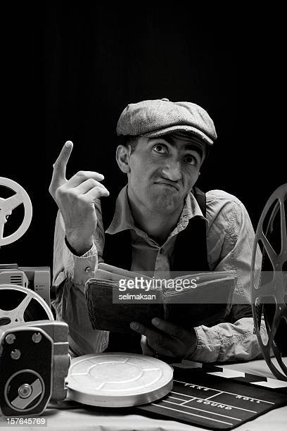 Black And White Portrait Of Man Reading Script For Practicing