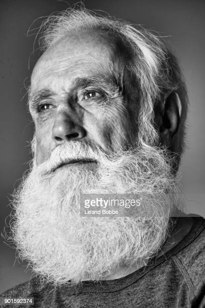 Black and White Portrait of Middle Aged Man With Beard