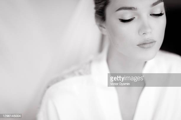 black and white portrait of the beautiful bride - marriage stock pictures, royalty-free photos & images