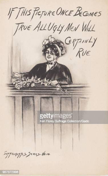 Black and white postcard depicting a woman dressed as a male judge or lawyer captioned 'If this picture once becomes true all ugly men will certainly...