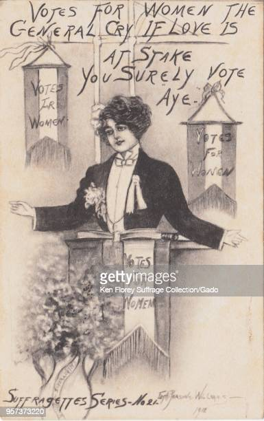 Black and white postcard depicting a woman dressed as a male politician captioned 'Votes for women the general cry if love is at stake you surely...
