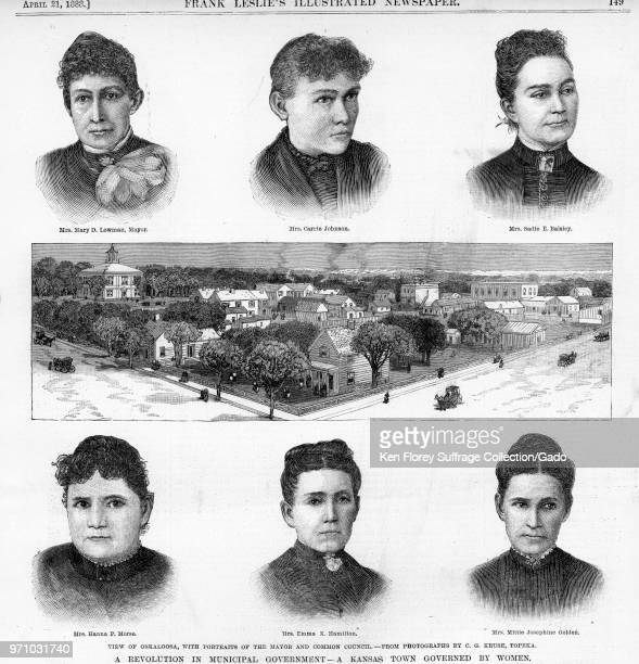 Black and white print depicting a panoramic view of Oskaloosa, Kansas, surrounded by portrait sketches of six women who served as the town's Common...