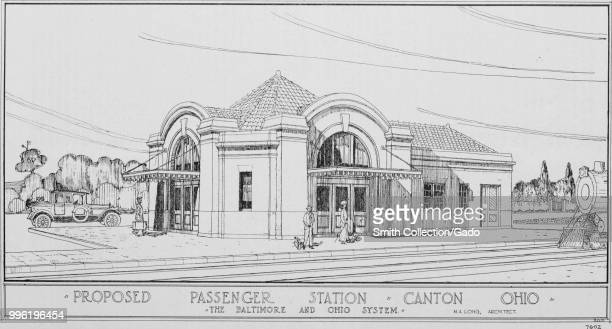 Black and white print depicting a Romanesque Revival railway station with wide entrance arches and a barreltile roof captioned proposed passenger...