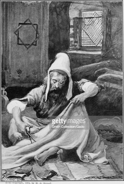 Black and white print depicting Aholiah of the tribe of Dan sitting crosslegged on the floor of his workshop cutting fabric in order to create...