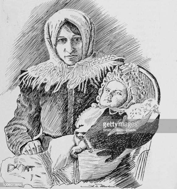 Black and white print depicting an early 20th century image of a Hungarian Mother and Child the mother wearing a headscarf shawl and warm clothes...