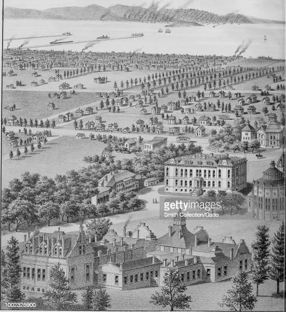 Black and white print depicting an early image of the grounds and buildings of the California State University looking west toward the city of San...