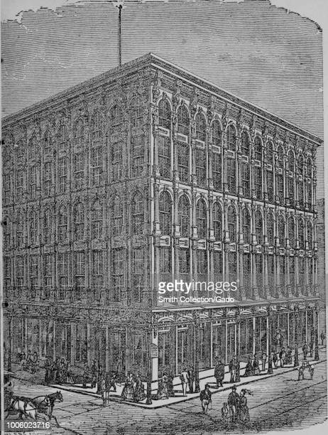 Black and white print depicting the Sun Iron Building, with people in Victorian dress on the sidewalk in the foreground, built in the Classical...