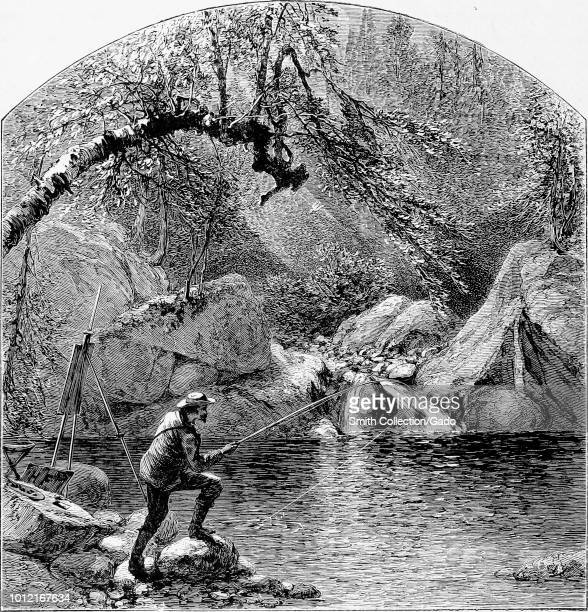 Black and white print illustrating a view of a man fishing with an artist's easel propped next to him at the Emerald Pool in PeabodyRiver Glen...