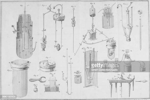Black and white print illustrating scientific laboratory apparatus from Lavoisier's 'Traite elementaire de Chimie' or 'Elementary Treatise of...