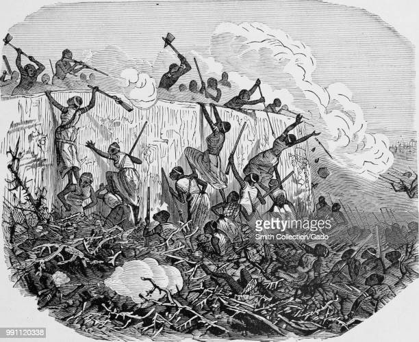 Black and white print illustrating the 1851 Battle of Abeokuta during which Dahomey invaders attacked the Egbas' capital of Abeokuta in southwest...