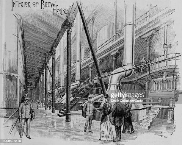 Black and white print illustrating the interior of the Pabst Brewing Company's Brewhouse located in Milwaukee Wisconson USA published in The Official...