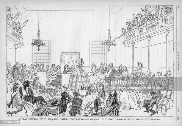 Black and white print satirizing the 1848 Women's Rights Convention in Seneca Falls New York captioned Ye May Session of Ye Woman's Rights Convention...