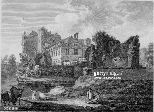 Black and white print showing a view of Beverstone or Tetbury Castle a medieval stone fortress located in Beverston Gloucestershire England with a...