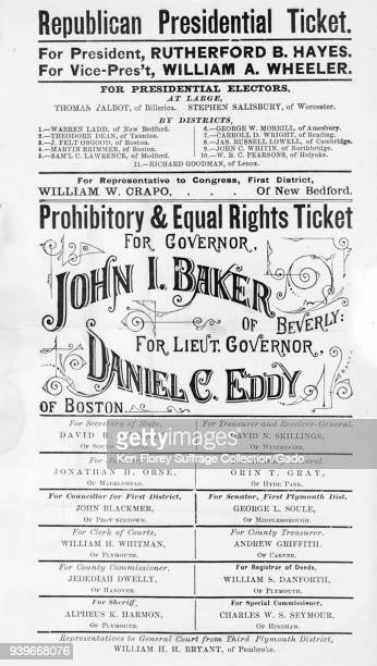 Black and white Republican presidential and Massachusetts Prohibition Party campaign poster listing John L Baker for governor and Daniel C Eddy for...