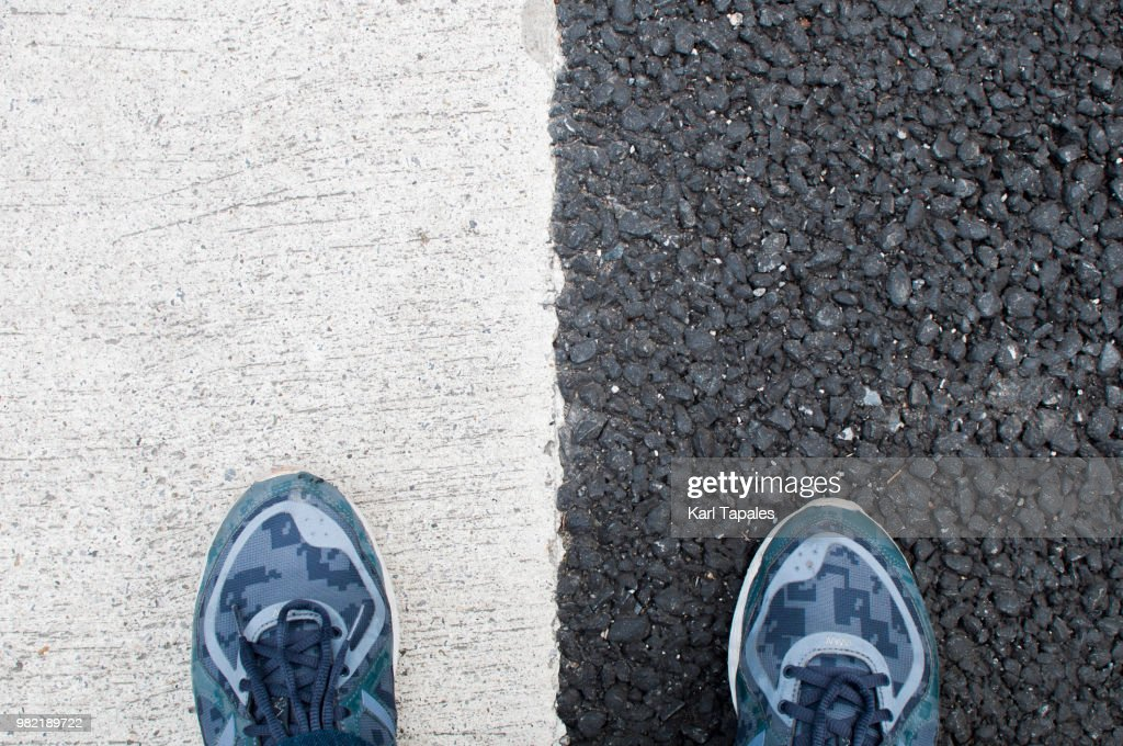 Black and white road : Stock Photo