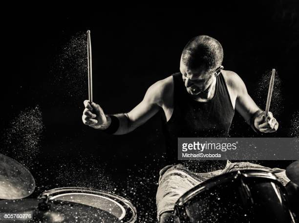 Black And White Rock N Roll Drummer