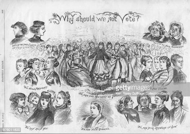 """Black and white satirical print titled """"Why Should We Not Vote?"""" portraying stock images of women captioned """"We can be your Cadets and Midshipmen, """"..."""