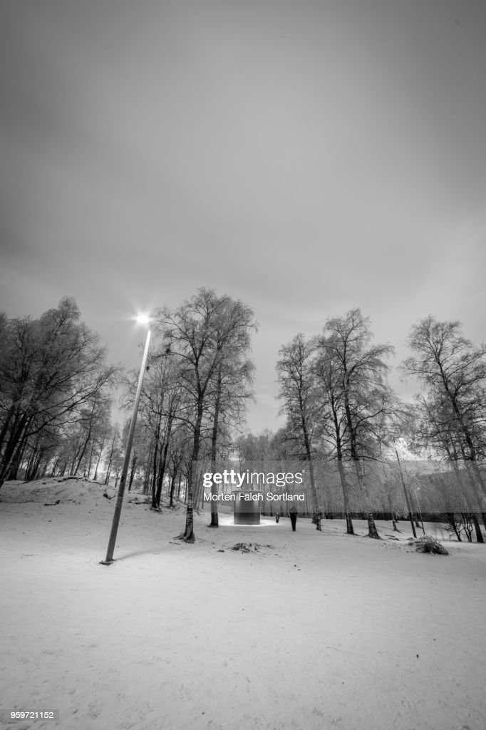 Black and White Shot of a Small Wooden Outbuilding in the Snowy Forested Area of Sognsvann Lake, Norway Wintertime : Stock-Foto