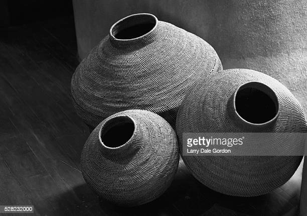 Black and white shot of finely woven traditional African baskets, Kruger National Park; Mpumalanga Province, South Africa