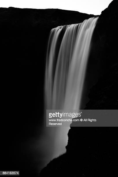 Black and White Skogafoss Waterfall in Iceland