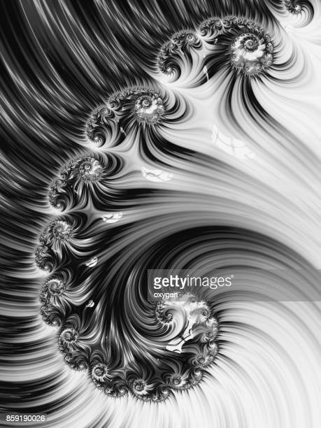 Black and White Spiral Abstract Fractal pattern