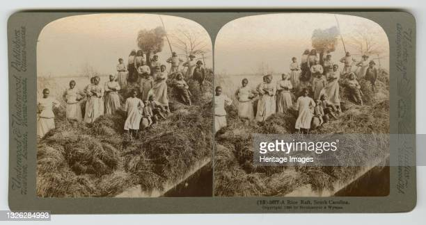 Black and white stereograph of African-American women and children standing on a large pile of rice-straw on a raft. Twenty people are in the...