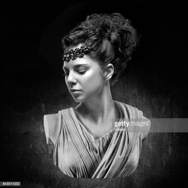 black and white studio shot bust of beautiful female model posing as ancient greek goddess - ancient greece photos stock pictures, royalty-free photos & images