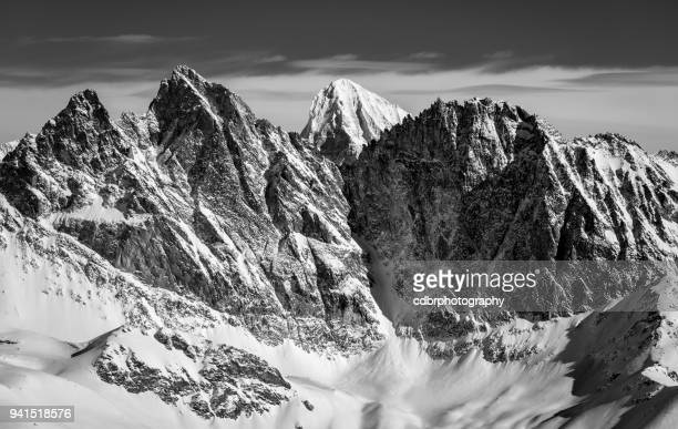 black and white swiss alps scenery - valais canton stock pictures, royalty-free photos & images