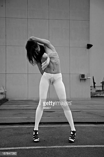 black and white tights - beautiful long legs stock pictures, royalty-free photos & images