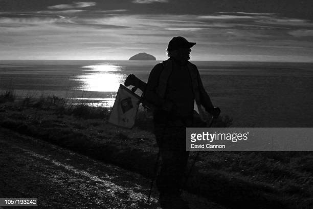 Black and white version of original colour image Nick Edmund of England during the first leg of his Turnberry to Dornoch Scottish GlobalGolf4Cancer...