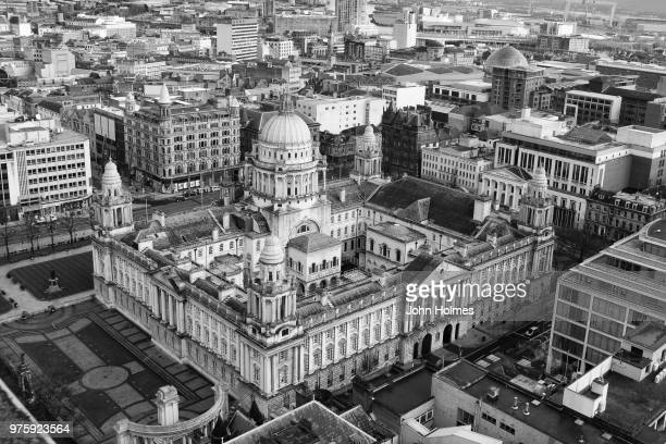 black and white view of belfast city hall, belfast, ireland - belfast stock pictures, royalty-free photos & images