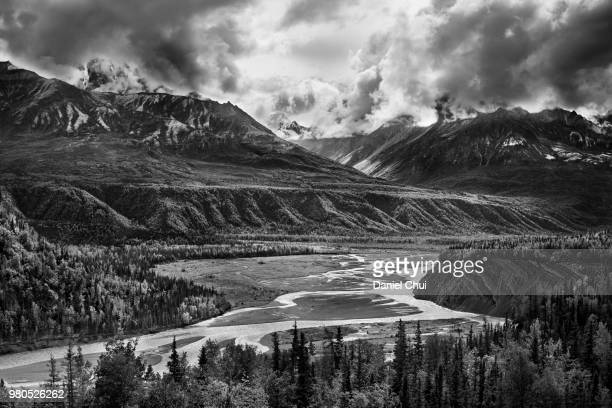 Black and white view of mountain range, Alaska, USA