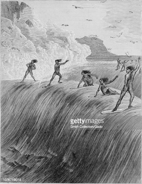 Black and white vintage print, depicting a group of nude Hawaiian men and women, riding a large wave by sitting and standing on early surfboards,...