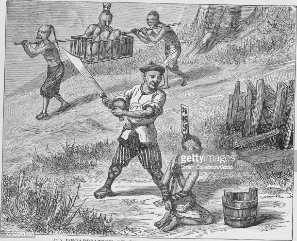 Black and white vintage print depicting the official process of decapitation practiced in nineteenthcentury China with a tied man in the background...