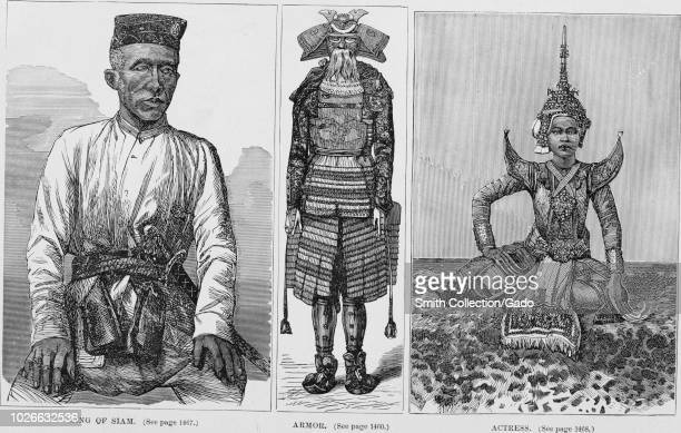 Black and white vintage prints in three columns captioned King of Siam depicting Thai King Mongkut in threequarter frontal view wearing a Scottish...