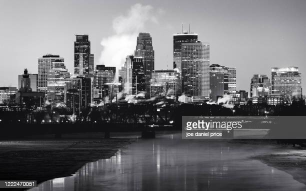 black and white, winter sunrise, minneapolis, skyline, minnesota, america - minneapolis stock pictures, royalty-free photos & images