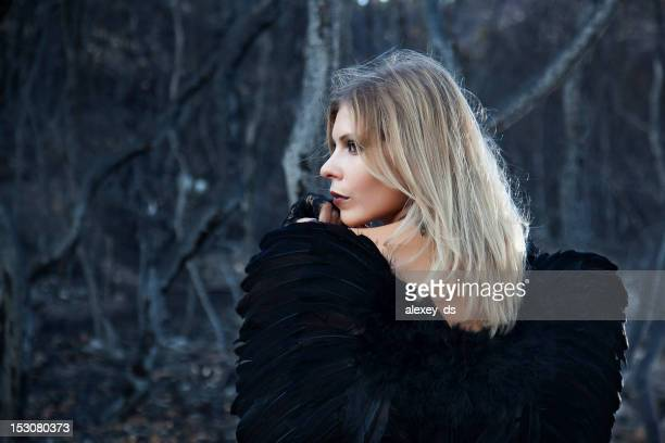 black angel in the burned forest - ash stock photos and pictures